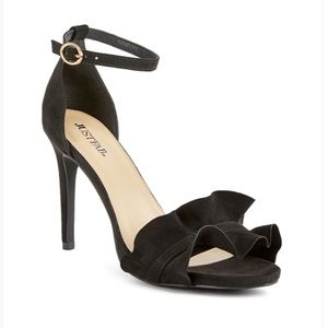 X-Gorgeous black ruffle accent sexy sandal
